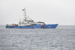 Border police boat with refugees on board. Mytilene, Lesvos, Greece, 02-March -2016:Border police boat with refugees on board. Picked up in the Aegean sea royalty free stock photography