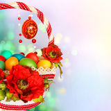 Border with poppies and easter basket. Easter design - border with poppies, easter basket and colourful eggs stock photo