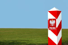 Border post and emblem of the Polish Royalty Free Stock Photos