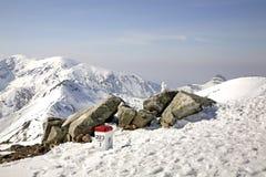 Border post in Tatra Mountains near Zakopane. Poland Royalty Free Stock Images