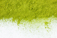 Border of powdered green tea top view close up royalty free stock photos