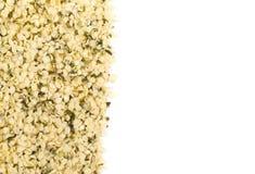 Border of raw, organic hemp seeds over white stock image
