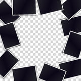 Border of realistic black photo frames on transparent background Stock Image