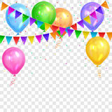 Border of realistic colorful helium balloons and flags garlands Royalty Free Stock Photo