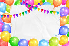 Border of realistic colorful helium balloons, flags garlands. And white sheet. Party decoration frame for birthday, anniversary, celebration. Vector Stock Photos
