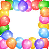 Border of realistic colorful helium balloons isolated on white. Background. Party decoration frame for birthday, anniversary, celebration. Vector illustration Royalty Free Stock Images