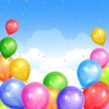 Border of realistic colorful helium balloons  on sky. Background. Party decoration frame for birthday, anniversary, celebration. Vector illustration Royalty Free Stock Photo