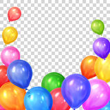 Border of realistic colorful helium balloons. On transparent background. Party decoration frame for birthday, anniversary, celebration. Vector illustration Royalty Free Stock Photo