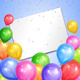 Border of realistic colorful helium balloons and white sheet. Royalty Free Stock Image