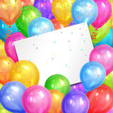 Border of realistic colorful helium balloons and white sheet. Party decoration frame for birthday, anniversary, celebration. Vector illustration Royalty Free Stock Photos