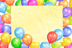 Border of realistic colorful helium balloons and yellow sheet. Party decoration frame for birthday, anniversary, celebration. Vector illustration Royalty Free Stock Image