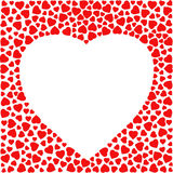 Border with red hearts. Greeting card design template decorated with heart made of small heart shapes. Stock Image