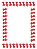 Border of red push pins Royalty Free Stock Photo
