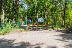 Border Republic of Poland Europe Union and Russian Federation border at Nowa Karczma in Krynica Morska. Krynica Morska, Poland - July 11, 2018: Border Republic stock photos