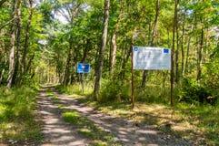 Border Republic of Poland - Russian Federation border at Nowa Karczma in Krynica Morska. Krynica Morska, Poland - July 11, 2018: Border Republic of Poland royalty free stock photos