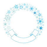 Border and ribbon from colored snowflakes. Light color, template for congratulations Royalty Free Stock Image