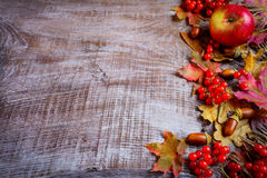 Border of ripe fruits and fall leaves on the dark wooden backgro Stock Photo