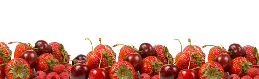 Border of ripe red berries Royalty Free Stock Photos