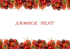 Border of ripe red berries Royalty Free Stock Image