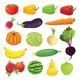 Border with ripe vegetable,. Fruits and berry Royalty Free Stock Images