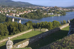 Border river, bridge, between Portugal and Spain Royalty Free Stock Photography