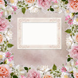 Border of roses, lace and frame on vintage background Royalty Free Stock Photography