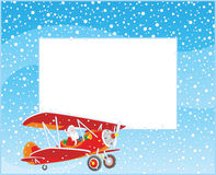 Border with Santa piloting a plane Stock Images