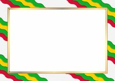 Border of Sao Tome and Principe. Border made with Sao Tome and Principe national colors. Template elements for your certificate and diploma. Horizontal vector illustration