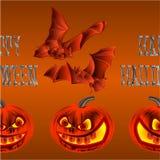 Border seamless background Happy Halloween inscription of bones pumpkin and bats orange holiday background vector illustration edi Stock Photos