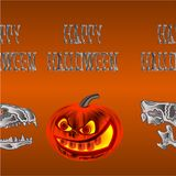 Border seamless background Happy Halloween inscription of bones scary skull and pumpkin orange holiday background vector illustrat Royalty Free Stock Photography