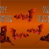 Border seamless background Happy Halloween inscription of bones a spooky castle and a bat orange holiday background vector illustr. Ation editable hand draw vector illustration