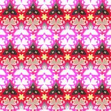 Border seamless geometric floral vector pattern in pink, red, white and black Stock Images