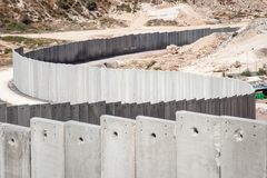 Border security: the Israel - Palestine concrete wall. Controversial border security: The concrete Israeli separation or security wall with Palestine stock images