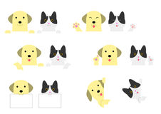 Border set of dog and cat Stock Image