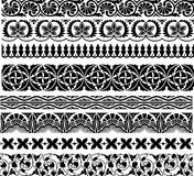 Border. Set of the eight ornamental border for your design. Vector illustration black on the white background Stock Photos
