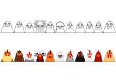 Various chicken heads in a row. Border Set of various breeds of chicken heads in a row on white vector illustration