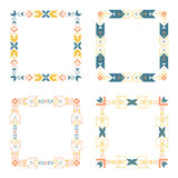 Border set. Vector frame outline collection including geometric lines and shapes. Decorative elements for web and print design. Logotype template Stock Images