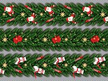 Free Border Set With Santa Claus, Christmas Tree Branches, Golden Sta Stock Photo - 133835590