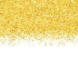 Border with shimmer stars. Gold sparkle. Golden frame of stars. Confetti stock illustration