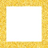 Border with shimmer stars. Gold sparkle. Golden frame of stars. Confetti royalty free stock photography