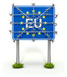 Border sign of European union with barbed wire. On white background - 3D illustration Royalty Free Stock Photo
