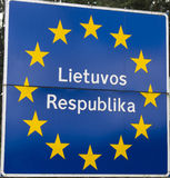 Border sign between Latvia and Lithuania Royalty Free Stock Photography
