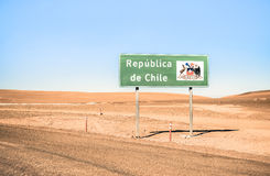 Border sign of Republica de Chile at Bolivia border Royalty Free Stock Photography
