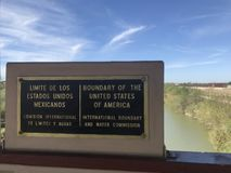 The border sign United States and Mexico. Rio Grande river on the border between United States and Mexico in Texas stock images