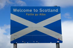 Border sign: Welcome to Scotland. United Kingdom border sign: Welcome to Scotland stock photos