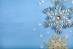 Border of silver snowflakes royalty free stock image