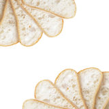 Border from slices of fresh italian ciabatta bread Stock Photos