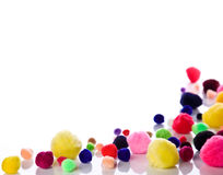 Border of soft colorful balls. Background of colorful soft balls with smooth reflection Royalty Free Stock Photography