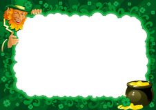 Border  for St. Patricks Day. Lucky leprechaun and pot with gold coins on abstract frame for St. Patricks Day Stock Image