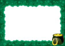 Border  for St. Patricks Day. Vector ornate  frame with pot, gold coins and clover leaves Stock Photography